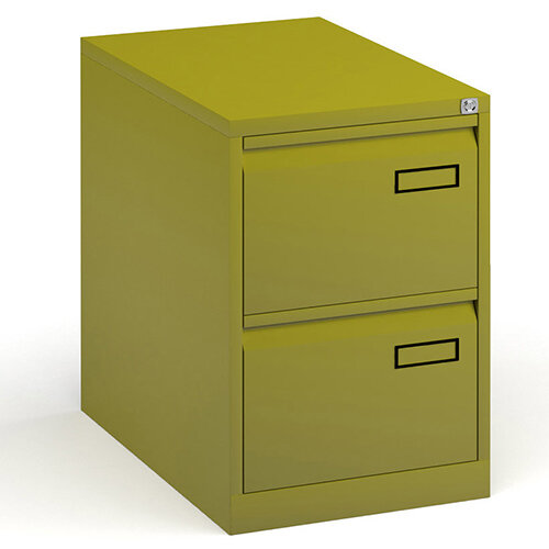 Bisley Steel 2 Drawer Public Sector Contract A4 Filing Cabinet 711mm High - Green