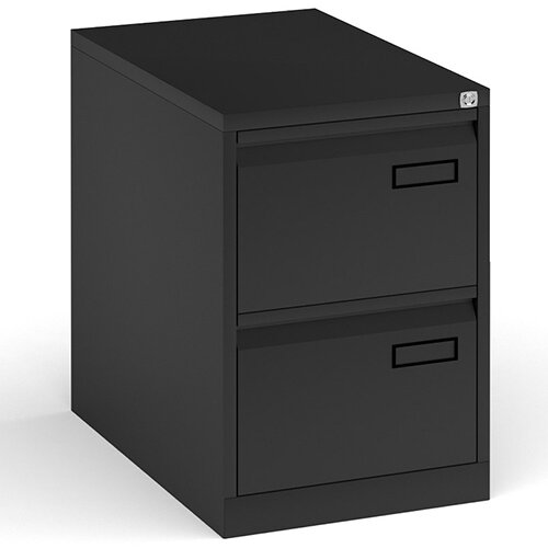 Bisley Steel 2 Drawer Public Sector Contract A4 Filing Cabinet 711mm High - Black