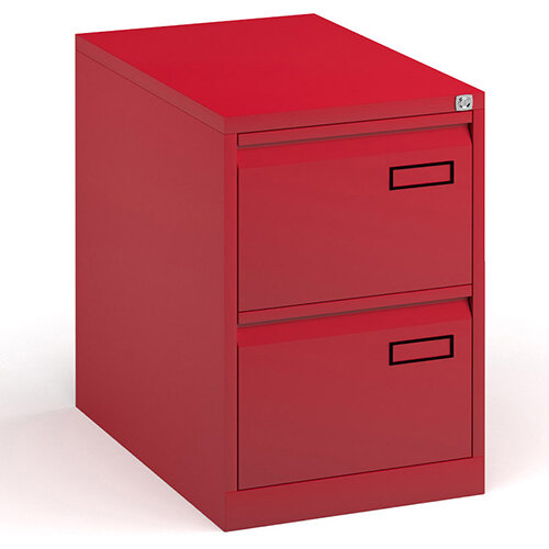 Bisley Steel 2 Drawer Public Sector Contract A4 Filing Cabinet 711mm High - Red