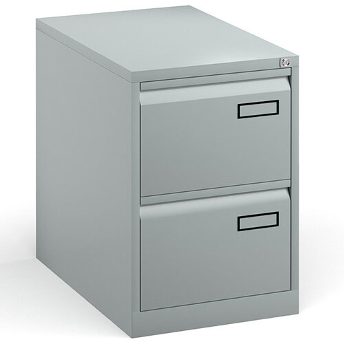 Bisley Steel 2 Drawer Public Sector Contract A4 Filing Cabinet 711mm High - Silver