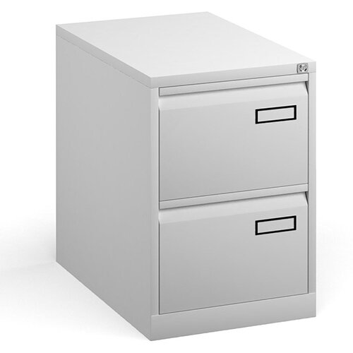 Bisley Steel 2 Drawer Public Sector Contract A4 Filing Cabinet 711mm High - White