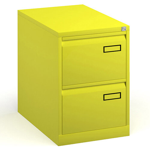 Bisley Steel 2 Drawer Public Sector Contract A4 Filing Cabinet 711mm High - Yellow