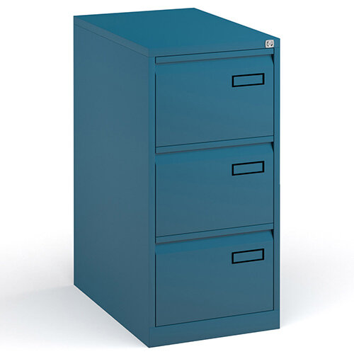 Bisley Steel 3 Drawer Public Sector Contract A4 Filing Cabinet 1016mm High - Blue