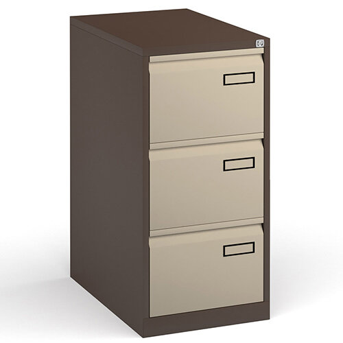 Bisley Steel 3 Drawer Public Sector Contract A4 Filing Cabinet 1016mm High - Coffee/Cream