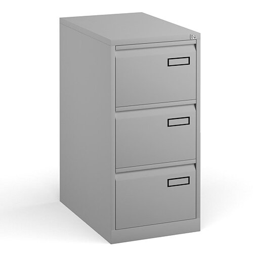 Bisley Steel 3 Drawer Public Sector Contract A4 Filing Cabinet 1016mm High - Goose Grey