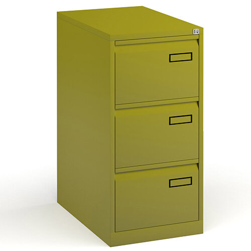 Bisley Steel 3 Drawer Public Sector Contract A4 Filing Cabinet 1016mm High - Green