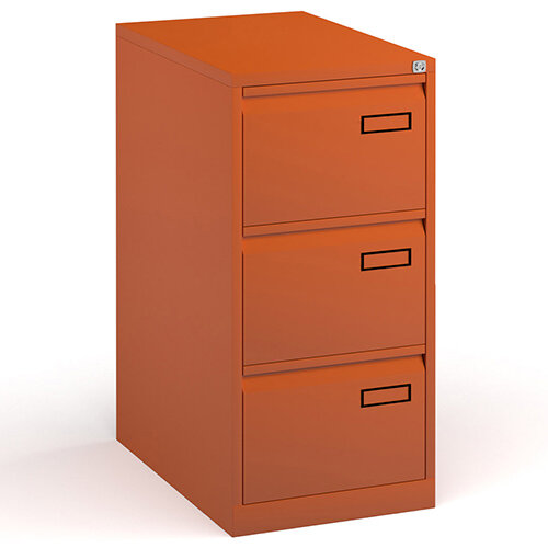 Bisley Steel 3 Drawer Public Sector Contract A4 Filing Cabinet 1016mm High - Orange