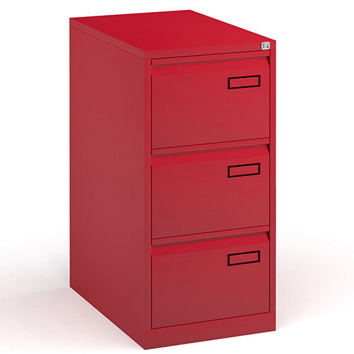 Bisley Steel 3 Drawer Public Sector Contract A4 Filing Cabinet 1016mm High - Red