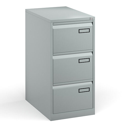 Bisley Steel 3 Drawer Public Sector Contract A4 Filing Cabinet 1016mm High - Silver
