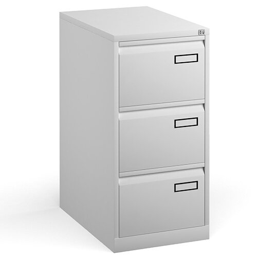 Bisley Steel 3 Drawer Public Sector Contract A4 Filing Cabinet 1016mm High - White
