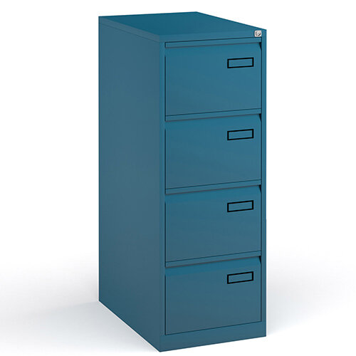 Bisley Steel 4 Drawer Public Sector Contract A4 Filing Cabinet 1321mm High - Blue