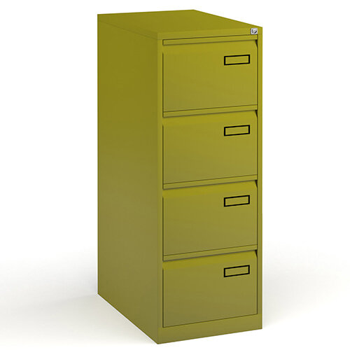Bisley Steel 4 Drawer Public Sector Contract A4 Filing Cabinet 1321mm High - Green