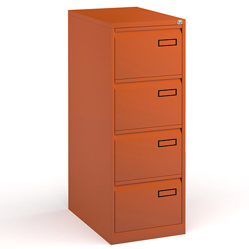 Bisley Steel 4 Drawer Public Sector Contract A4 Filing Cabinet 1321mm High - Orange