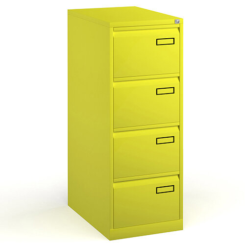 Bisley Steel 4 Drawer Public Sector Contract A4 Filing Cabinet 1321mm High - Yellow