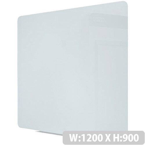 Bi-Office Magnetic Glass Drywipe Board 1200 x 900mm Frameless GL080101