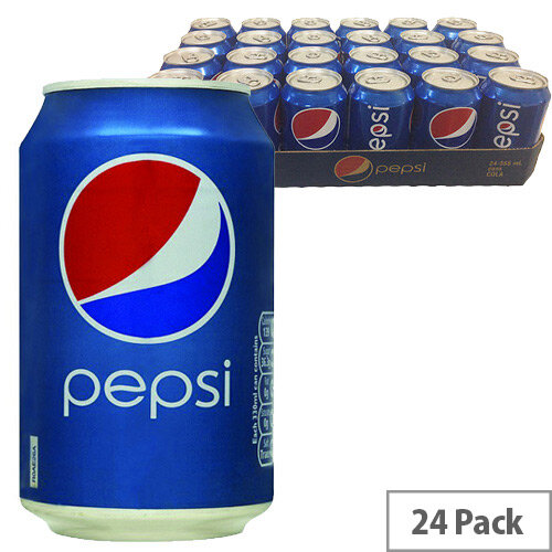 Original Pepsi Cola Soft Drink Cans 330ml (Pack 24) 3385