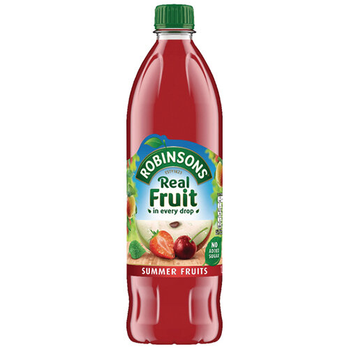 Robinsons No Added Sugar Summer Fruits Squash 1 Litre 206937 Dilute With Water Concentrated Cordial