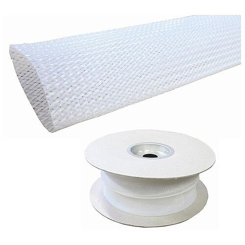 Cat 5e/6 Friendly White Braided Sleeving for Cables 30-50mm
