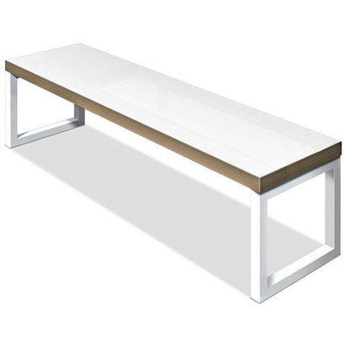 Frovi BLOCK STEEL WHITE Bench Seat W2000mm For 2200mm Table White Top &Ply Edge With White Hoop Leg Frame W2000xD400xH400mm