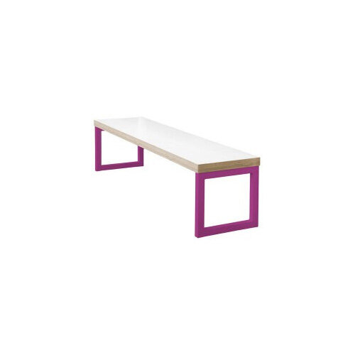 Frovi BLOCK STEEL COLOUR Bench Seat W2000mm For 2200mm Table Bespoke Colour Seat &Edge With RAL Painted Hoop Leg Frame W2000xD400xH400mm