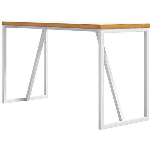 Frovi BLOCK STEEL WHITE Medium High Poseur Bench Table W1900xD700xH1050mm White Top &Ply Edge With White Hoop Leg Frame