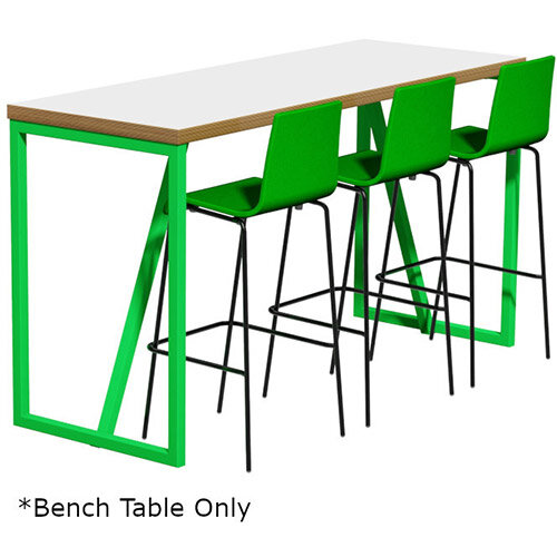 Frovi BLOCK STEEL COLOUR Medium High Poseur Bench Table W1900xD700xH1050mm Bespoke Colour Top &Edge With RAL Painted Hoop Leg Frame