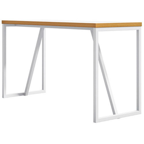 Frovi BLOCK STEEL Large White Top &Ply Edge Bench Poseur Table With White Hoop Leg Frame W2300xD700xH1050mm