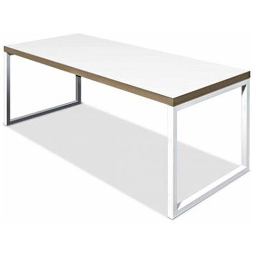 Frovi BLOCK STEEL Small White Top &Ply Edge Bench Table With White Hoop Leg Frame W1200xD800xH730mm