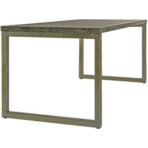 Frovi BLOCK STEEL RUSTIC Medium Bench Table With Vintage Brass Hoop Leg Frame &Driftwood Top W1800xD800xH730mm
