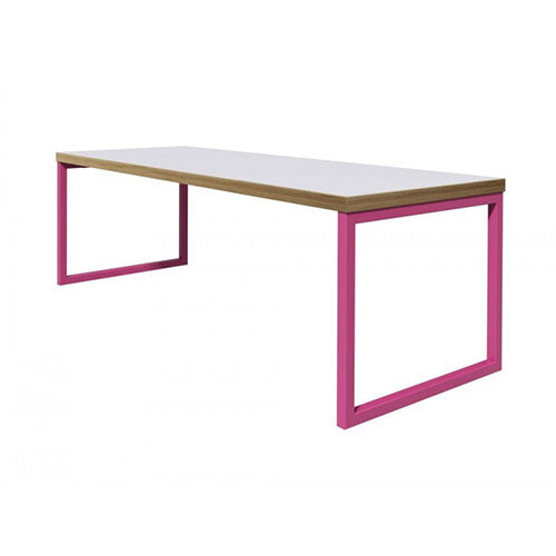 Frovi BLOCK STEEL COLOUR Large Bench Table  W2200xD800xH730mm Bespoke Colour Top &Edge With RAL Painted Hoop Leg Frame
