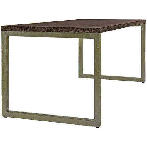 Frovi BLOCK STEEL RUSTIC Large Bench Table With Vintage Brass Hoop Leg Frame &Rust Top W2200xD800xH730mm
