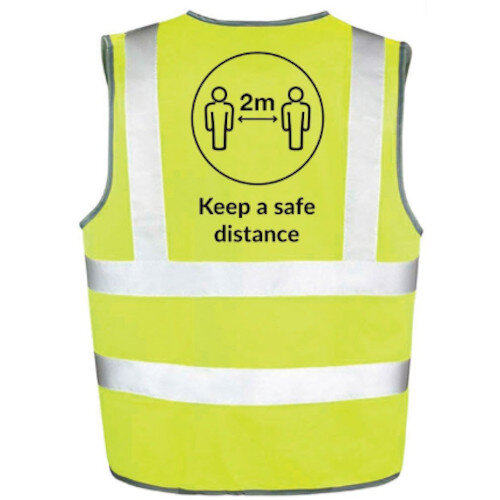 Hi Vis Vest Body Tech Yellow Large Keep a Safe Distance Ref: BT82-L