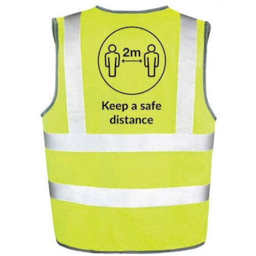 Hi Vis Vest Body Tech Yellow Medium Keep a Safe Distance Ref: BT82-M