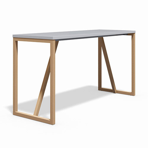 Frovi BLOCK WOOD Medium W1900xD700xH1050mm White Top High Poseur Bench Table With Solid Oak Hoop Leg Frame