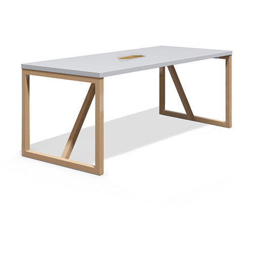 Frovi BLOCK WOOD Large W2200xD800xH710mm White Top Bench Table With Power Module With Solid Oak Hoop Leg Frame
