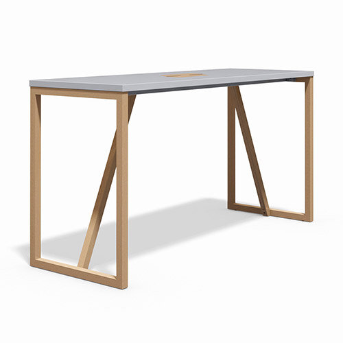 Frovi BLOCK WOOD Medium W1900xD700xH1050mm White Top High Poseur Bench Table With Power Module With Solid Oak Hoop Leg Frame