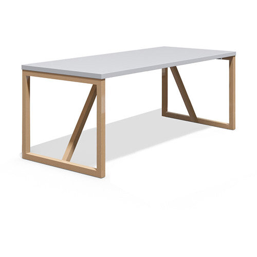 Frovi BLOCK WOOD Large W2200xD800xH710mm White Top Bench Table With Solid Oak Hoop Leg Frame