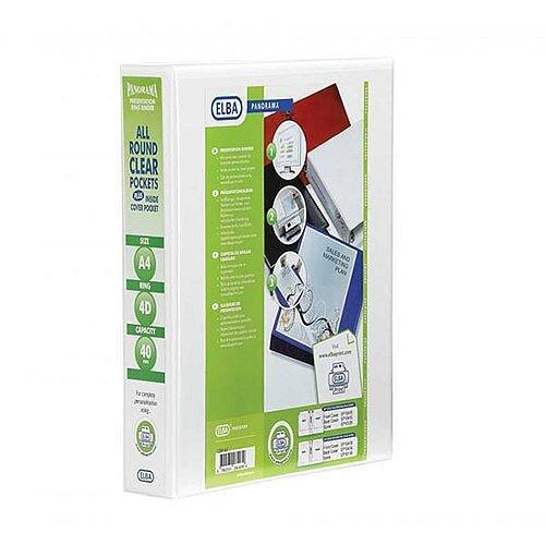 Elba Panorama Presentation Binder A4 4D-Ring 40mm White 400008419