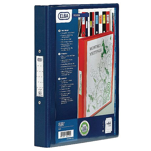 Elba Blue Ring Binder Plastic A4 25mm 4-Ring 1301-01