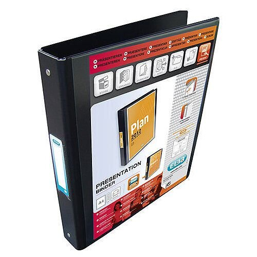 Elba Black Binder Plastic A4 25mm 4-Ring 1301-10