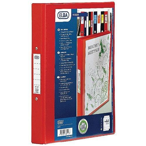Bantex Vision 2-Ring Binder A4 25mm Red 100080890