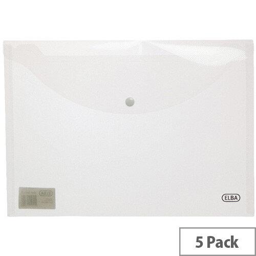 Elba Snap A4 Wallet Polypropylene Clear 100080924 Pack of 5