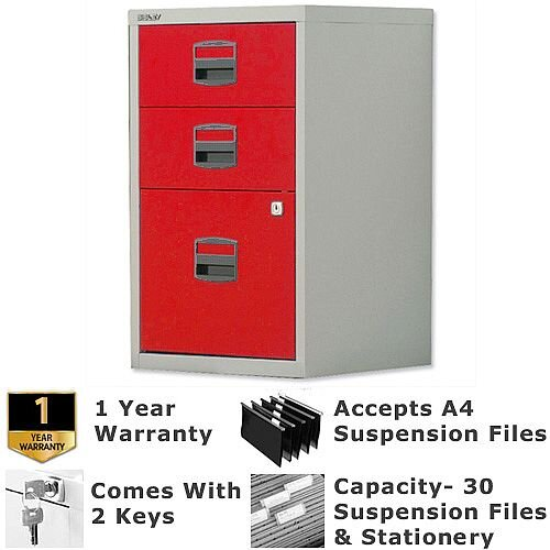 1 Filing &2 Stationery Drawer A4 Steel Filing Cabinet Lockable Grey &Red Bisley PFA Home Filers