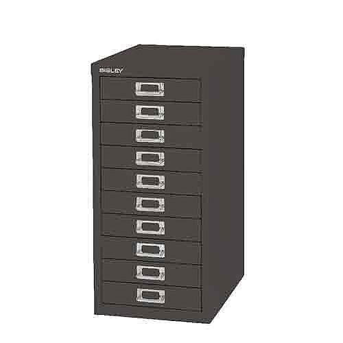 Bisley Non-Locking Multi-Drawer Cabinet 10 Drawer Black BY99639