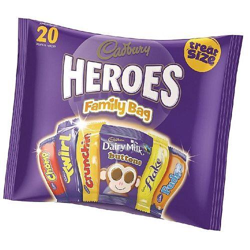 Cadburys Favourites Heroes Variety Chocolates Treatsize Bags 20 Bars per Pack