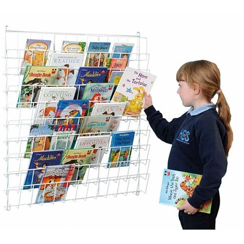 Vertical Wall Hanging Square Book Rack White