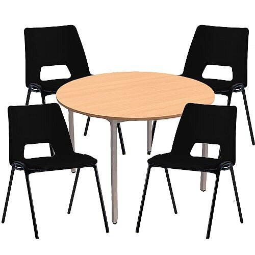4 x Stacking Black Chairs &1 Round Beech Table Canteen Bundle