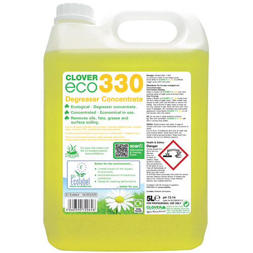 Clover ECO 330 Degreaser Concentrate 5 Litre Pack of 2 330