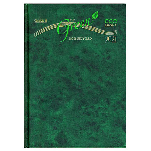 2021 Eco-Friendly Diary A5 1 Day Per Page Hardback Cover O'Brien