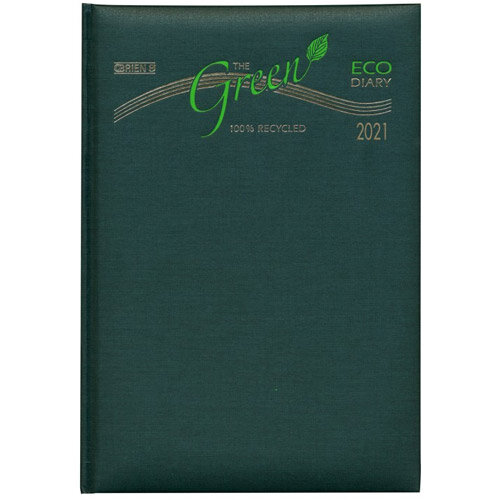 2021 Eco-Friendly Diary A5 1 Day Per Page Padded Cover O'Brien